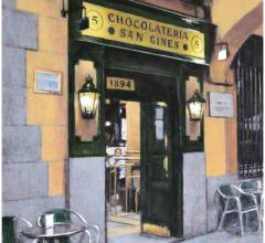 Chocolatería San Ginés, Madrid, óleo, 41 x 33 cm.