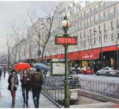 Metro de París, óleo, 50 x 65 cm.