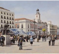 Puerta del Sol, Madrid, óleo, 54 x 81 cm.