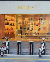 Beatriz-Olabarría,-Bicicletas-I,-óleo-sobre-lienzo,-27-x-30-cm-1