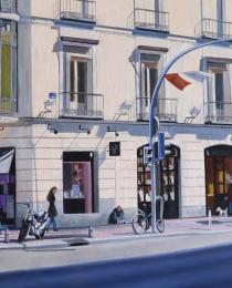 Beatriz-Olabarría,-Calle-de-Goya,-óleo-sobre-lienzo,-30-x-73-cm-1