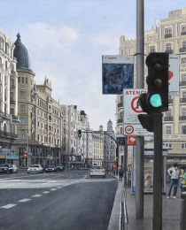 20–La-Gran-Vía-por-la-mañana,-óleo-lienzo,-54-x-81-cm